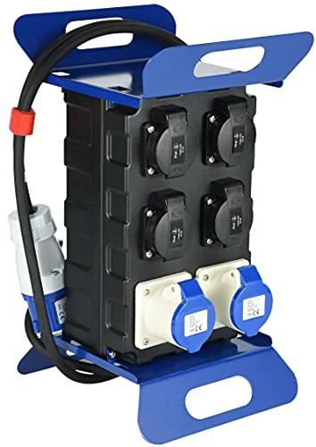 Electraline 60430 Cuadro Eléctrico de obra con Interruptor de Seguridad RCD 30mA, 4 enchufes Schuko + 2 enchufes industriales CEE. Cable 2 M H07RN-F 3G1,5 mm² IP44, Negro/Azul
