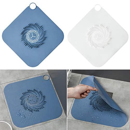 DEHUB Abflusssieb,2 Stücke Duschsieb Abfluss,Drain Sieb Kanalfilter Wasser Stopper für Duschraum.(Blau/Transparentes Weiß)