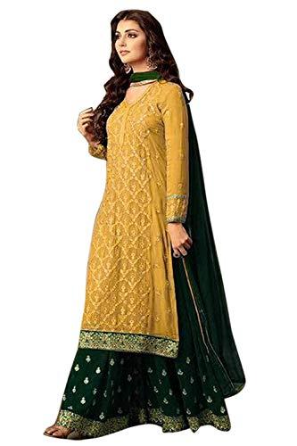SkyviewFashion Exclusive Indian Bollywood Designer Semi Stitch Salwar Kameez Plazzo Suit (Yellow)