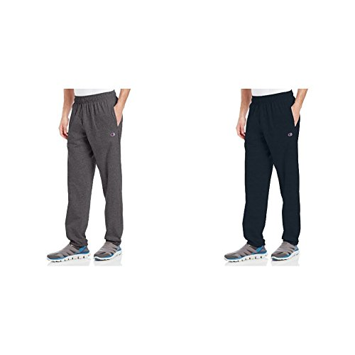 Champion 2 Pack Closed Bottom Light Weight Jersey Sweatpant, Granite Heather/Navy, Large/Large