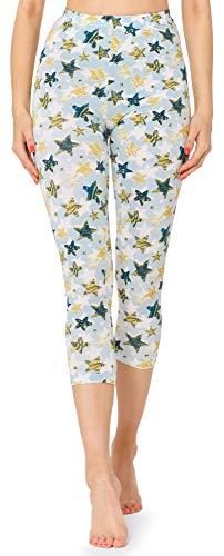 Merry Style Leggins 3/4 Malla Deportiva Mujer MS10-411(Blanco/Azul Oro Estrellas,XXL)