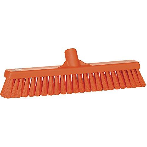 Vikan grof/fijne reinigingsborstel sweep vloer bezem hoofd, polypropyleen blok, Weich, oranje, 1