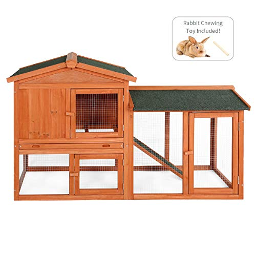 Esright Rabbit Hutch 54.3'' Rabbit Cage Outdoor Large Wooden Bunny House with Ventilation Door, Removable Tray and Ramp (Spire-Topped)