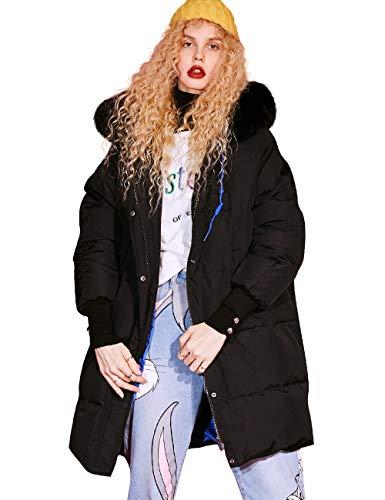 Elf zak dames donsjas elegante winterjas warm gewatteerde jas met bontcapuchon dons-look outdoor gewatteerde jas