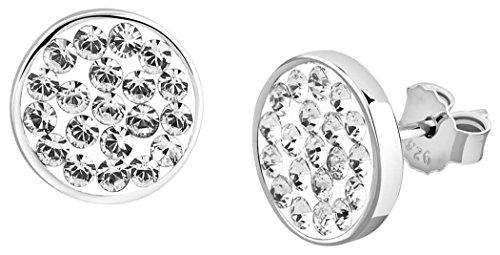 Nenalina Silber Damen-Ohrringe Ohrstecker rund 9 mm mit Swarovski Kristalle weiß für Frauen und Mädchen, 925 Sterling Silber, Ohrstecker für Damen, Ohrringe mit Swarovski, 224056-091