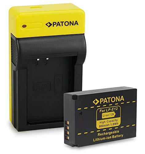 PATONA Bateria LP-E12 con Estrecho Cargador Compatible con Canon EOS 100D, EOS M, M2, M10, M50, Rebel SL1