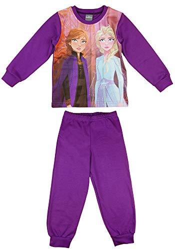 Disney Mädchen 2Teiler Pyjama Schlafoverall mit Eiskönigin Frozen 2 Motiv in Größe 104 110 116 122 128 134 100% Baumwolle mit Anna und ELSA Motiv Farbe Modell 1, Größe 128