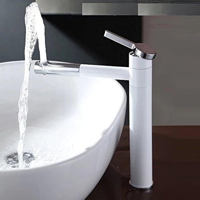 Gyps Faucet Basin Mixer Tap Waterfall Faucet Antique Bathroom Mixer Bar Mixer Shower Set Tap antique bathroom faucet Hand wash basin faucet copper-wide 360-degree swivel sink mixer White tall,Modern