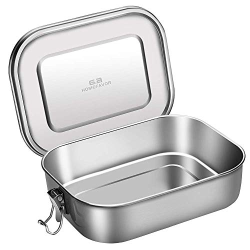 Bento Box, G.a HOMEFAVOR Stainless Steel Leakproof Bento Lunch Box, 1200ML Leak-proof Design with Lockable Clips, Metal Lunch Containers for Adults and Kids