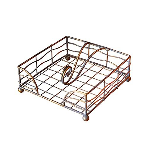 Organizador dispensador de pañuelos con marco de hierro cuadrado, servilletero para mesas de cocina, encimeras, interior y exterior, picnic, restaurantes, cafetería, decoración vintage para el hogar