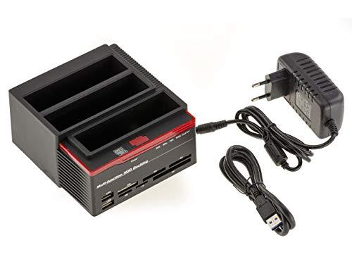 Docking Station Triple /// 2X SATA e IDE 2.5 e 3.5 /// verso USB 3.0 - HDD Dock - Funzione CLONAGE - Alimentazione 3A