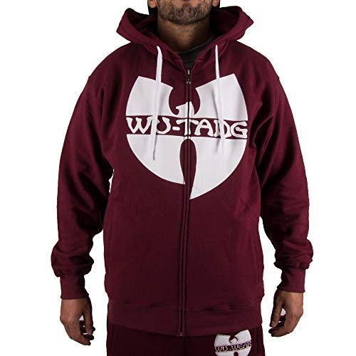 WU Wear Zipper WU Tang Logo Hooded, WU Tang Clan Pull Mode Streetwear Urban, Hip Hop, pour Hommes, Bordeaux Taille XL, Couleur Red