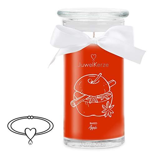 JuwelKerze Warmer Bratapfel - Kerze im Glas mit Schmuck - Große rote Duftkerze mit Überraschung als Geschenk für Sie (Silber Armband, Brenndauer: 90-120 Stunden)