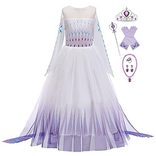 New front Niña Disfraz Princesa Elsa con Capa Vestido de Frozen Reina 2 Costume Manga Larga Traje Parte de Fiesta Cumpleaños Navidad Halloween Cosplay Fancy Dress con Accesorios 3-9 años