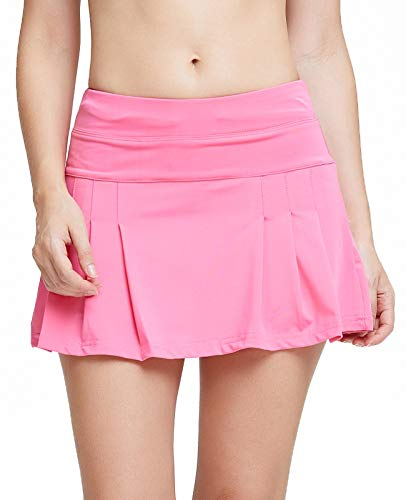 Women's Spike Athletic Mini Skort for Performance Training Tennis Golf & Running Pink L