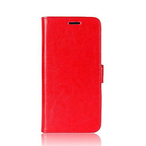 Zl One Compatível com/Substituição para Capa de telefone Samsung Galaxy J7 Prime 2 G61F Couro PU Proteção Cartão Slots Capa carteira Flip Case (Vermelho)