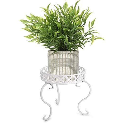 SUMNACON 1 soporte de metal para macetas, para interiores y exteriores, color blanco (no incluye planta).