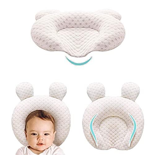 Muitar Almohadas de bebé suaves unisex para recién nacidos en forma de cabeza de apoyo para dormir con orejas de oso (beige)