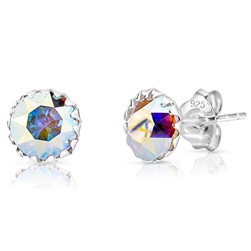 DTPSilver - Damen Ohrringe 925 Sterling Silber mit Kristallen von Swarovski® Elements 6 mm Runde Ohrstecker - Farbe : Aurore Boreale