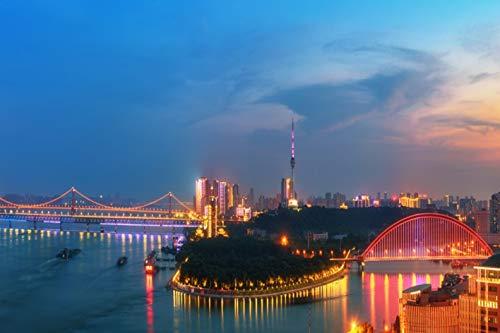 Puzzle Para Adultos 500 Piezas Diy Juguete De Madera Vista Nocturna Del Puente Del Río Yangtze Moderno Juego Personalizado Personalizado Adultos Niños Juguetes Educativos