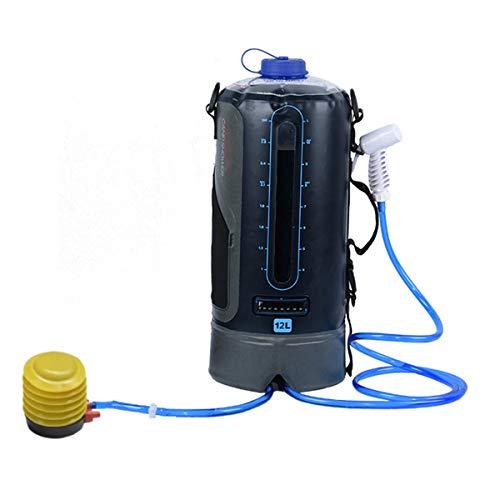 Bolsa de ducha para camping, 12 L, solar, portátil, para deportes al aire libre, bolsa de agua con bomba de pie y manguera de cabezal de ducha para camping, viajes, senderismo (color: versión normal)