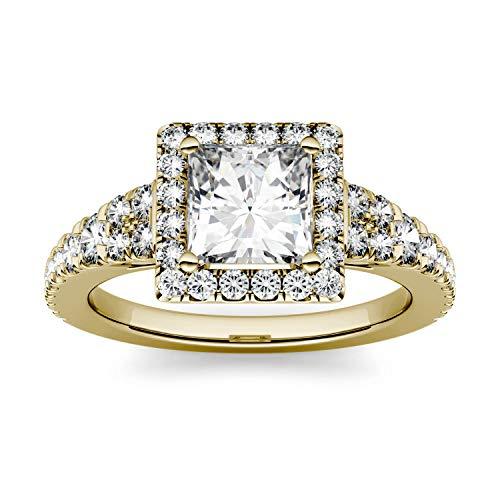 Charles & Colvard Forever One anillo de compromiso - Oro amarillo 14K - Moissanita de 5.5 mm de talla cuadrada, 1.585 ct. DEW, talla 13