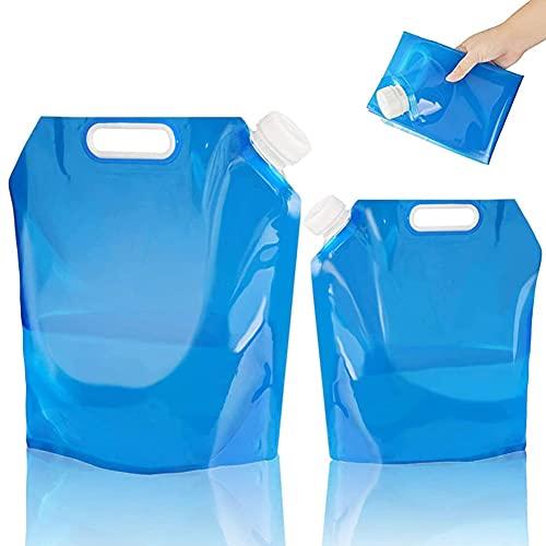 2 Piezas Tanque de Agua Plegable,Bidones de Agua Plegables,Recipiente para Agua Plegable,Bidón Agua Plegable Portátil,Adecuado para Camping,Senderismo,Picnic,Aire Libre(5 L + 10 L)