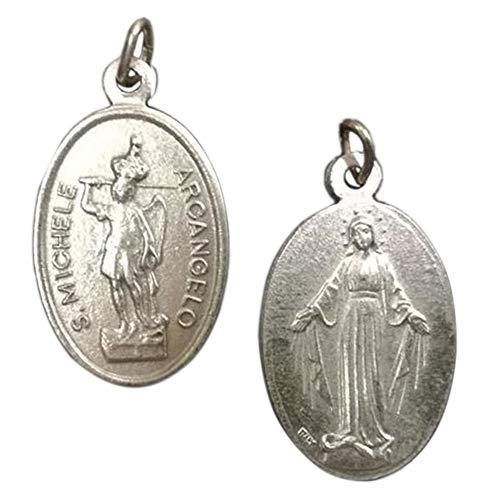 Eurofusioni Medalla chapeada Plata San Miguel Arcángel y Virgen Milagrosa - H 2,5 cm - 10 Piezas