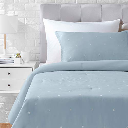 AmazonBasics Scattered Dot Embroidered Comforter Set - Premium, Soft, Easy-Wash Microfiber - Twin/Twin XL, Dusty Blue