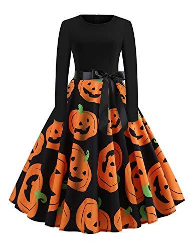 CINDYLOVER Chaleco de Halloween Gato y Vestido de Calabaza Halloween Fiesta Gato y Calabaza Vestido...