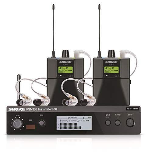 Shure PSM300 P3TRA215TWP Pro Wireless In-Ear Personal Monitor System with SE215-CL Earphones - Twinpack