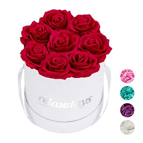 Relaxdays Rosenbox rund, 8 Rosen, stabile Flowerbox weiß, 10 Jahre haltbar, Geschenkidee, dekorative Blumenbox, rot