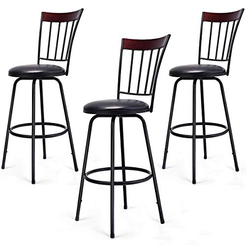 COSTWAY Bar Stools, Modern Swivel Height-Adjustable PU Leather Counter Metal Chair with Ergonomic Backrest & Footrest, for Bistro Pub Dining Room Kitchen Furniture Set of 3