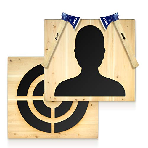 Axe Throwing Wooden Target | Heavy Duty Premium Spruce Wood | Gift+2Pcs 600gram Axes | Industrial Hanging Chain | All Axes Hatchets & Knives | Double Sided | Beginner & Professional |20x20x2 inches