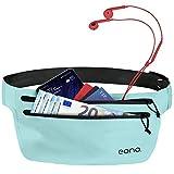 Eono Essentials - Cinturón portaobjetos Resistente al Agua con Banda elástica Ajustable para Hacer Ejercicio, Running, rutas en Bici y Actividades al Aire Libre (Azul)