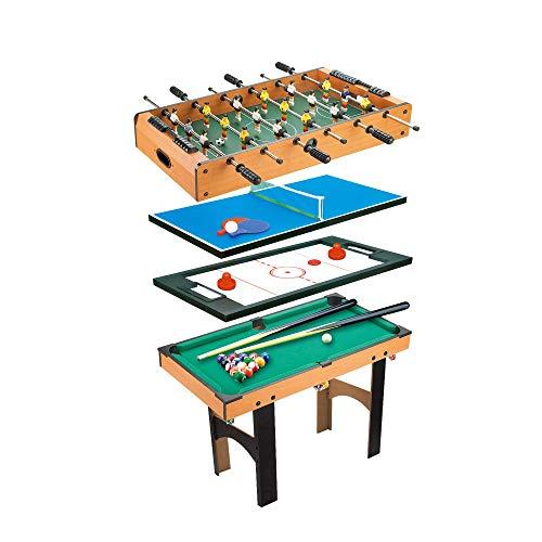 Calma Dragon 6611, Mesa Multijuegos, Plegable, 4 en 1, (Medidas: 87 x 43 x 73cm) Billar, Ping Pong, Hockey y Futbolín, Regalo ideal para toda la Familia, Multigame para Adultos y Niños, Juego