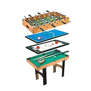 CalmaDragon Mesa Multijuegos Plegable 4 en 1 Billar, Medidas: 87 x 43 x 73cm. Ping Pong, Hockey y Futbolín Regalo ideal para toda la Familia
