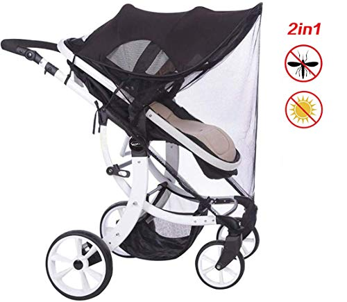 AUVSTAR Baby Buggy Sun, kinderwagen, infant kinderwagen, zonnezeil, baby buggy zwart zonnescherm, zonwerend Shield, baby buggy autostoel heeft uitstekende UV-bescherming, geschikt voor outdoor reizen (zwart2)