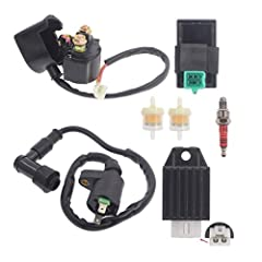 This kit include: Ignition Coil + 5 PINS CDI module + 4-pin Voltage Regulator Rectifier + Solenoid Relay + 3 electrode spark plug+ 2 Fuel Filters. The item fits for 50cc 70cc 90cc 110cc 125cc horizontal engine,not for GY6 or CG engine. Package Includ...