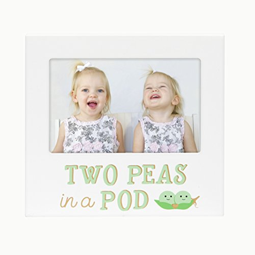 Pearhead Two Peas in A Pod, Siblings Sentiment Frame, Keepsake Photo Frame for Twins or Siblings, White