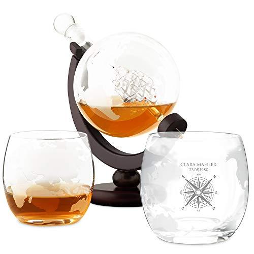 Murrano Whisky Karaffe mit Gravur - Globus mit Schiff, 850 ml - 2er Whiskygläser Set - Whisky Dekanter - personalisiert - Windrose