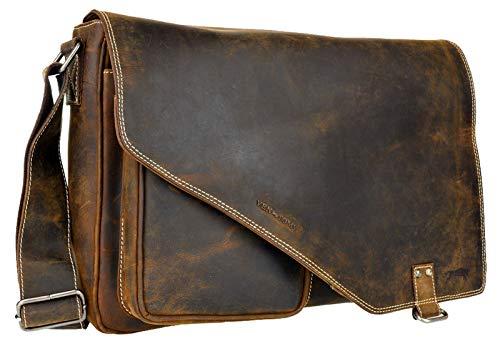 VEN TOMY Schultertasche Herren Umhängetasche Messenger Aktentasche Lehrertasche Echt-Leder-Tasche Vintage-Braun (VT121 / Cognac)