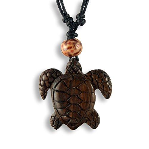 ISLAND PIERCINGS Halskette Anhänger aus Holz Schildkröte Handarbeit längenverstellbar N253