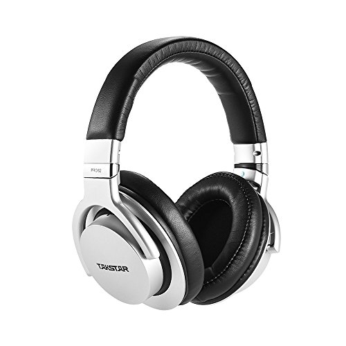 ammoon TAKSTAR PRO 82 Professional Studio Dynamic Monitor Headphone Headset Over-Ear for Recording Monitoring Music Appreciation Game Playing with Aluminum Alloy Case (Silver)