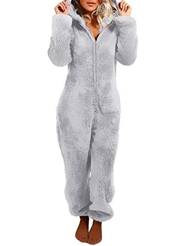 MINASAN Damen Jumpsuit Fleece Einteiler Overall Anzug Flauschig Jumpsuit flauschig und kuschelig weich warm Einteiler Ganzkörperanzug Overall warm (Grau, S)