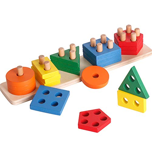 Wooden Sorting & Stacking Toy, Shape Sorter Toys for Toddlers, Montessori Color Recognition Stacker, Early Educational Block Puzzles for 1 2 3 Years Old Boys and Girls (5 Shapes)