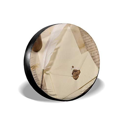 Feathere - Cubierta universal para llantas de llanta de tinta, protección UV duradera, cubierta de rueda de repuesto, se adapta a campista, remolque, Rv SUV y muchos vehículos, 40,6 cm