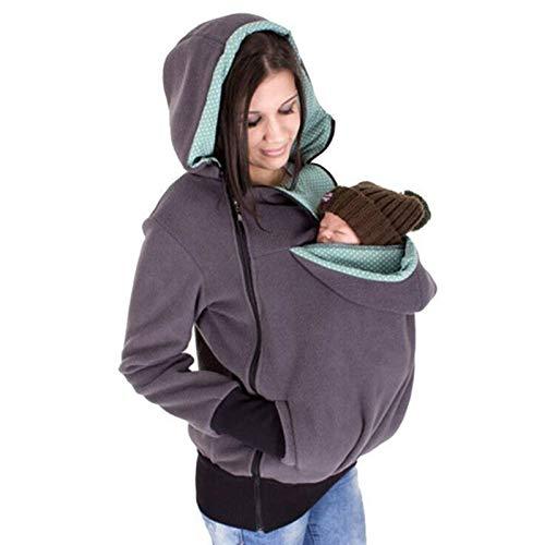 SCYMYBH Manos Libres Mujer Canguro con Capucha con Portador de bebé Invierno Embarazadas Sudaderas con Padre niño (Color : Gray, Size : S)