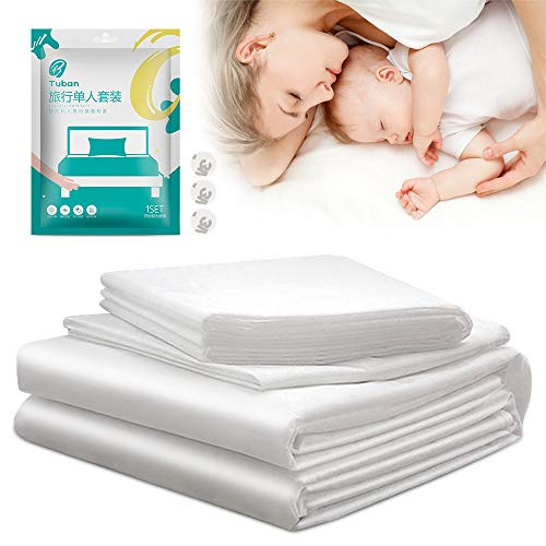 Einweg Bettwäsche Set, hicoosee Kissenbezug, Bettlaken, Bettbezug für Einzelbett 3 Stück