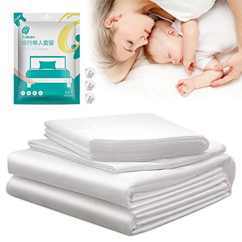Einweg Bettwäsche Set, HICOO Kissenbezug, Bettlaken, Bettbezug für Einzelbett 3 Stück